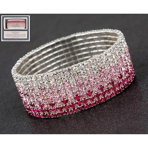 Equilibrium Diamante Clear and Pink Bracelet Gift Boxed