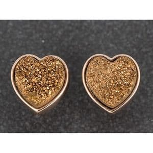 Equilibrium Druzy Crystal Heart Earrings Bronze