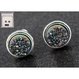 Equilibrium Druzy Crystal Round Earrings Multi
