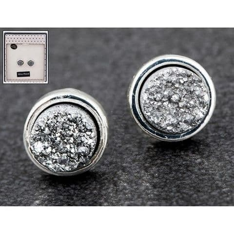 Equilibrium Druzy Crystal Round Earrings Silver