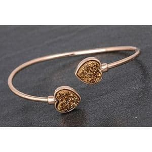 Equilibrium Druzy Heart Rose Gold Plated Bangle Gift Boxed