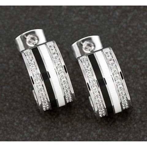 Equilibrium Hand Painted Monochrome White Gold Plate Hoop Stud Earrings Diamante