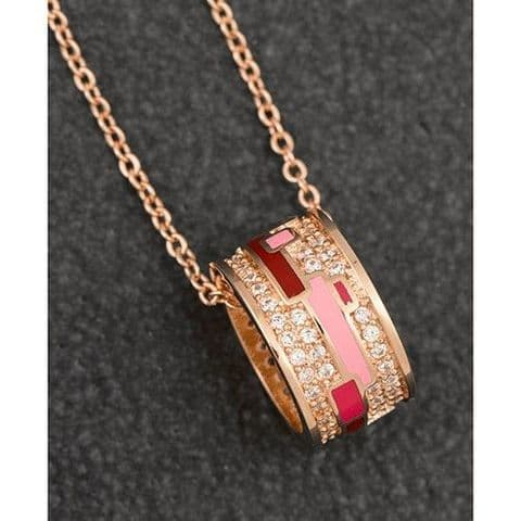 Equilibrium Handpainted Pink Sparkle Pave Ring Ladies Necklace