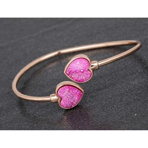 Equilibrium Heart Druzy Rose Gold Plated Bangle Gift Boxed  - Pink