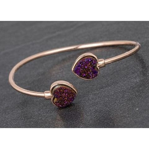 Equilibrium Heart Druzy Rose Gold Plated Bangle Gift Boxed - Purple