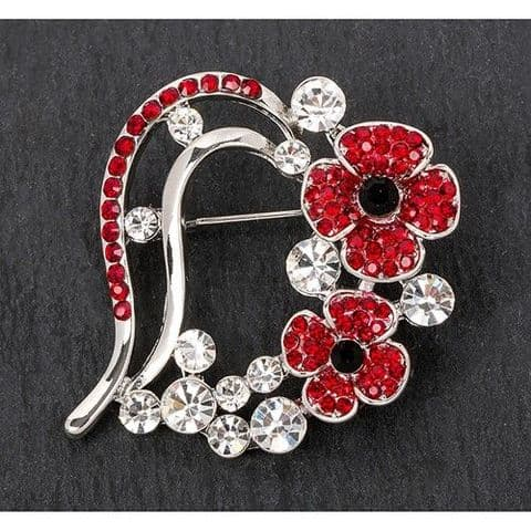 Equilibrium Heart Shaped poppy Brooch Boxed