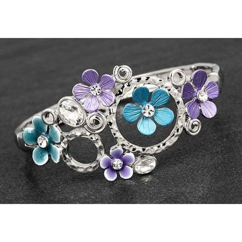 Equilibrium Jewel Tones Flower Loop Half Bracelet