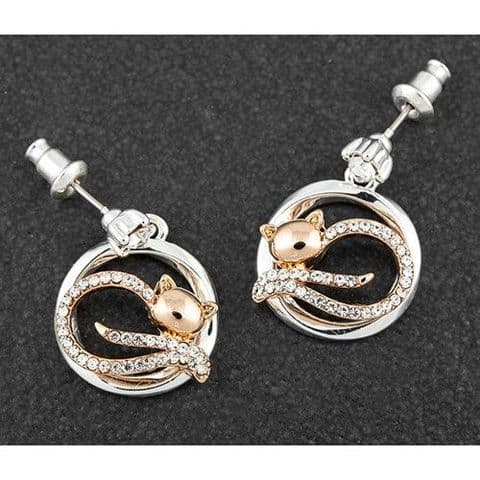 Equilibrium Lazy Cat Earrings Rose Gold & Silver Plated