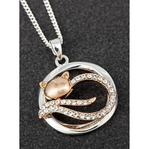 Equilibrium Lazy Cat Pendant Necklace Rose Gold & Silver Plated