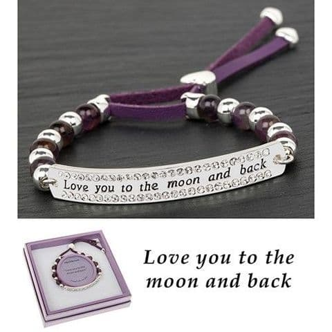 Equilibrium Love You Friendship Style Bracelet Leather, Amethyst, Silver Plated