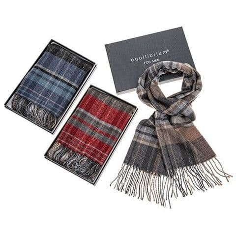 Equilibrium Men's Checked Pattern Double Sided Soft Feel Scarf Boxed Gift - Grey