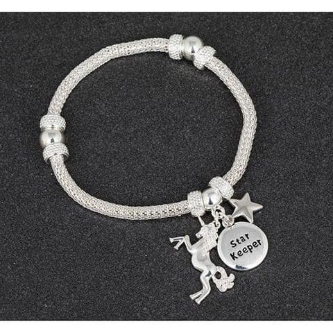 Equilibrium Mesh Bracelet  with Unicorn ans Star Keeper Charm