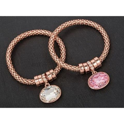 Equilibrium Mesh Rose Gold Plated Bracelet - Clear Stone