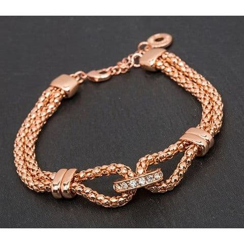 Equilibrium Mesh Rose Gold Plated Looped Double Bracelet