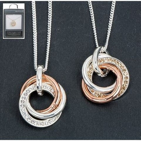 Equilibrium RINGS Pendant Necklace Rose Gold & Silver Plated