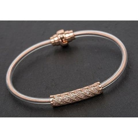 Equilibrium Rose Gold Lattice Modern Tube Bracelet