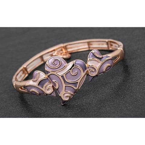 Equilibrium Rose Gold Muted Tones Hearts Half Bracelet