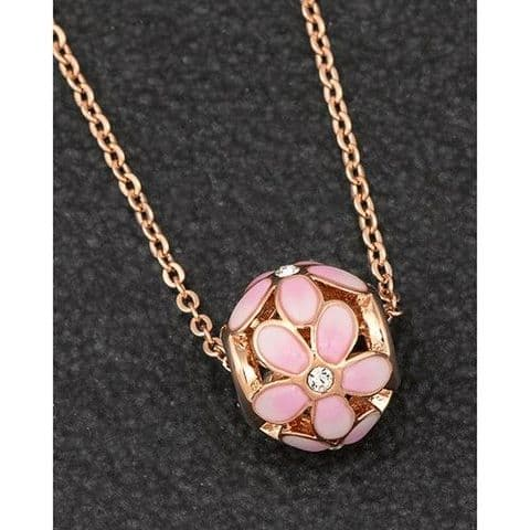 Equilibrium Rose Gold Plated Daisy Ball Pendant