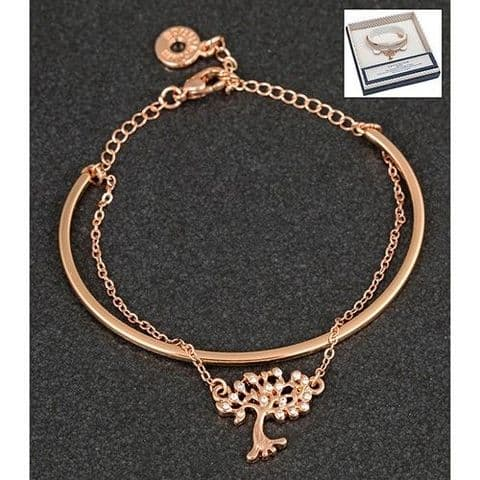 Equilibrium Rose Gold Plated Tree of Life Double Bracelet
