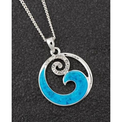 Equilibrium Sea Breeze Wave Design Round Pendant Silver Plated Necklace