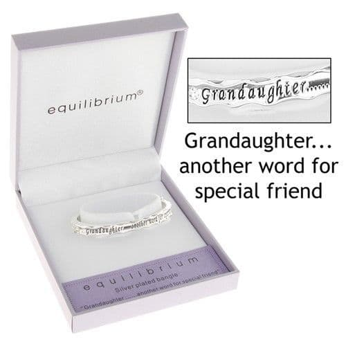 Equilibrium Silver Plated Grandaughter Hinged Bangle with inscribed Sentiment.