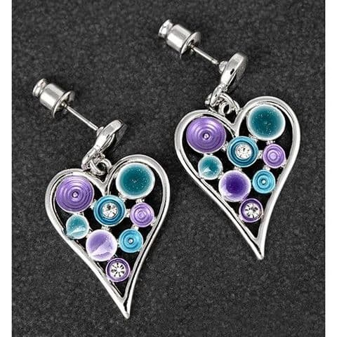 Equilibrium Silver Plated Jewel Tones Swirly Heart Earrings