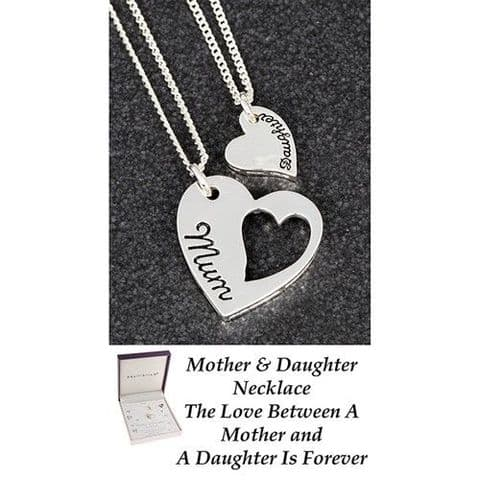Equilibrium Silver Plated Mum and Daughter Heart Necklace Set Family Sentiment