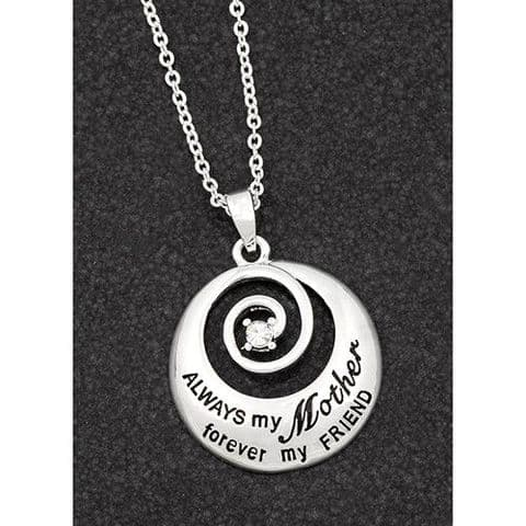 "Equilibrium Silver Plated Necklace Swirl ""Always...mother"""