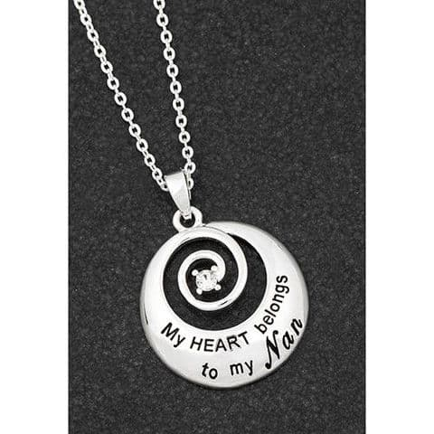 "Equilibrium Silver Plated Necklace Swirl ""My heart...nan"""