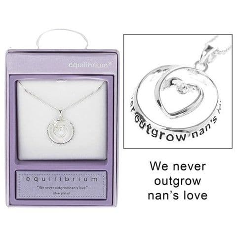"Equilibrium Silver Plated Necklace ""We never outgrow....nan.."""