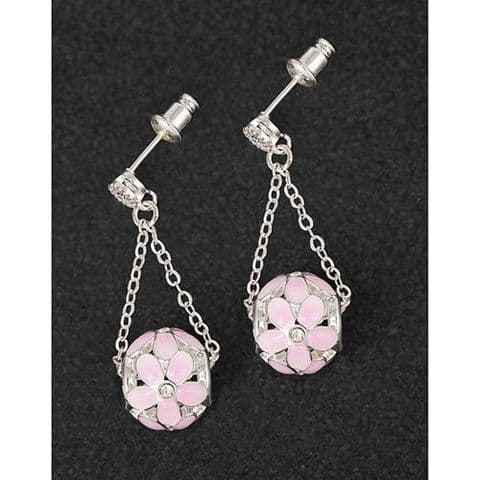 Equilibrium Silver Plated Pink Flower Ball Dangly Earrings