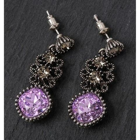 Equilibrium Silver Plated PURPLE Dangly Earrings