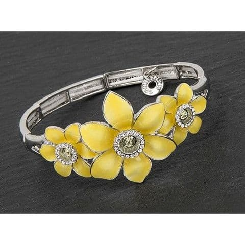 Equilibrium Silver Plated Radiant Daffodil Stretch Bracelet Gift Boxed