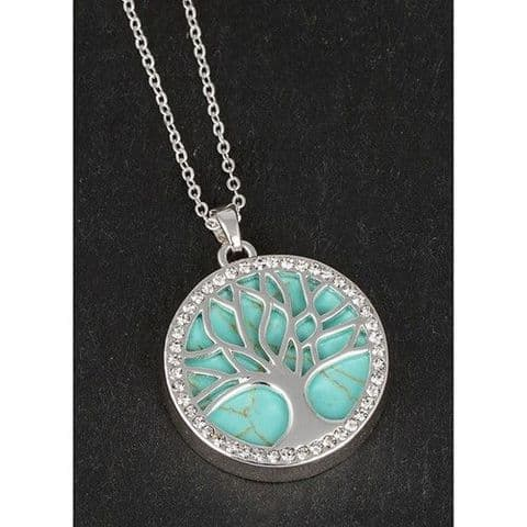 Equilibrium  Silver Plated Tree of Life Turquoise Pendant