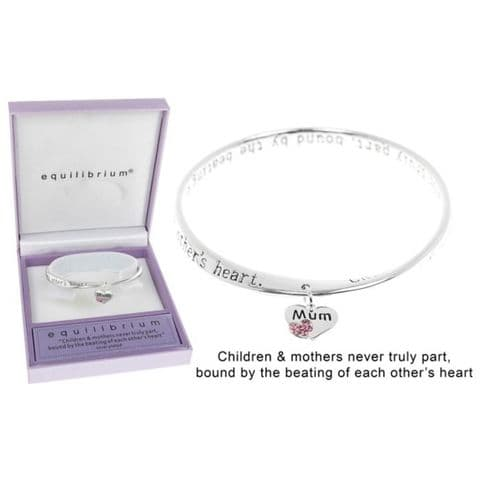 Equilibrium Silver Plated Twisted Bangle with Heart Charm  - Mum