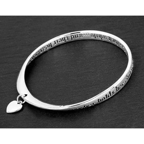 Equilibrium Silver Plated Twisted Loop Bangle with Heart Charm  - Mum Hands