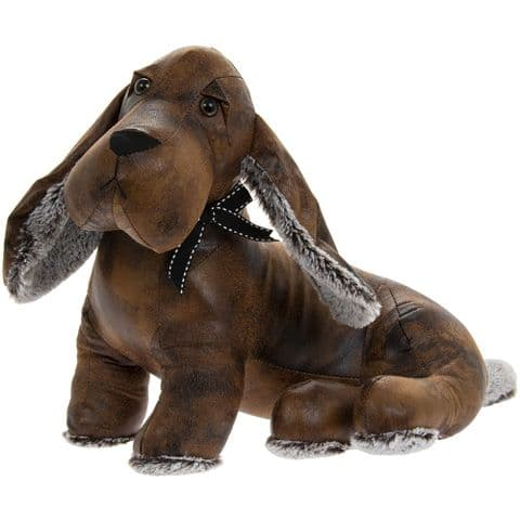Faux Leather Heavy Dachshund Door Stop Ornament
