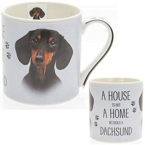 "Fine China Dog Picture ""A House is not a Home Without a Dachsund."" Sentiment Boxed Mug"
