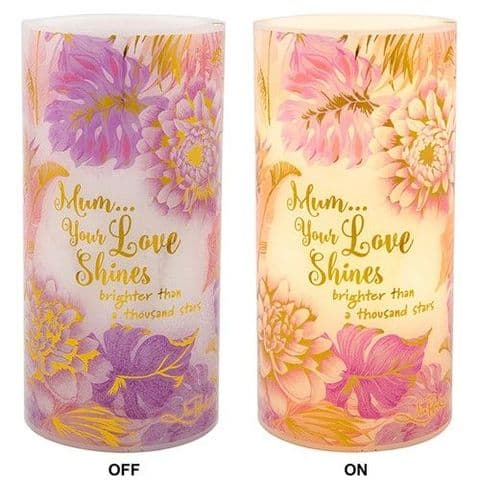 Floral Flickering Candle Light Battery Powered Flameless LED Sentiment Mum