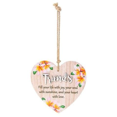 Friends Floral Wood Hanging Heart Sentiments Plaques with 3D Lettering