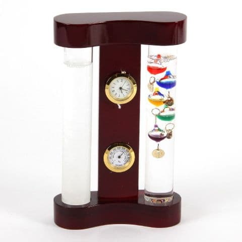 Galileo Thermometer Storm Glass Weather Station Monitor Clock Hygrometer