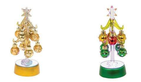 Glass Light up Tree with Coloured Glittered Baubles -16cm
