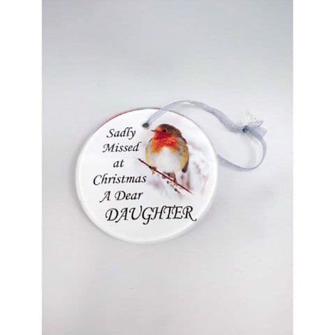 Hanging Robin Christmas Tree Hanging Glass Memorial Sentiment Disc - Daughter