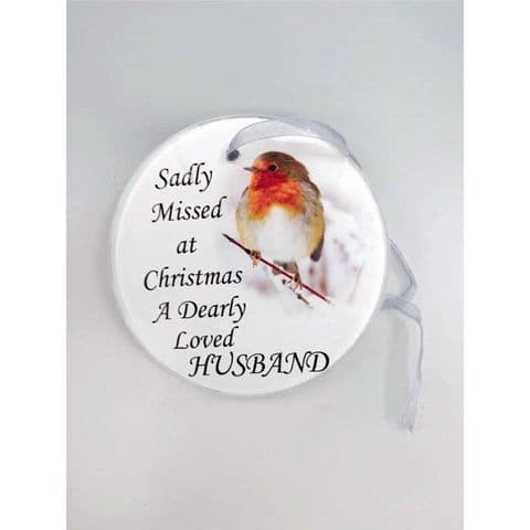 Hanging Robin Christmas Tree Hanging Glass Memorial Sentiment Disc - Husband
