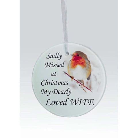 Hanging Robin Christmas Tree Hanging Glass Memorial Sentiment Disc - Wife