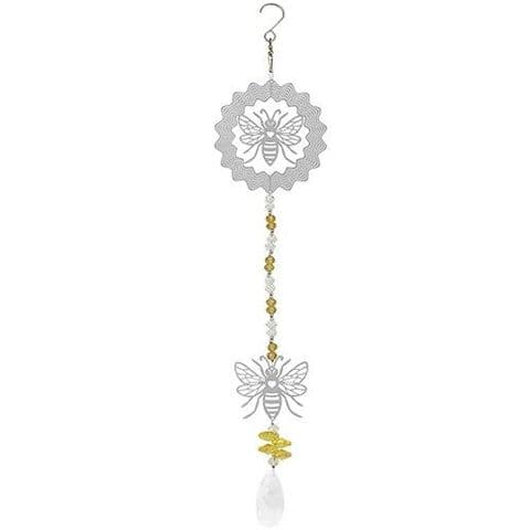 Large Bee Design Crystal Wind Spinner and Dreamcatcher Suncatcher
