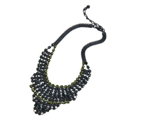 Large Statement Necklace Black/Green