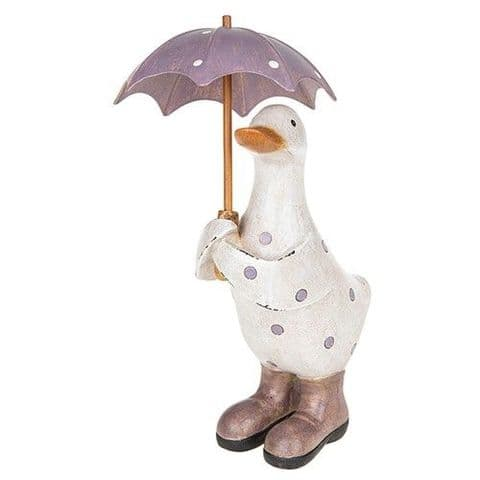 Lilac and  White Polka Dot Duck with Umbrella and  Wellington Boots 16cm