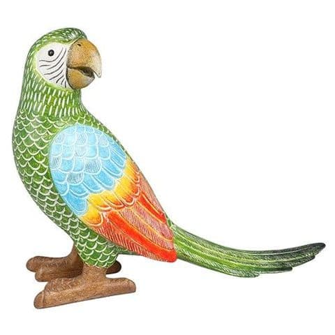 Macaw Parrot Colourful Carved Ornament Emerald Green Long Tail Standing Figure