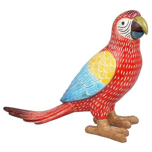 Macaw Parrot Colourful Carved Ornament Red, Long Tail Standing Figure